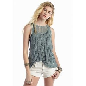 Free People Green Double Take Double Layer Tank